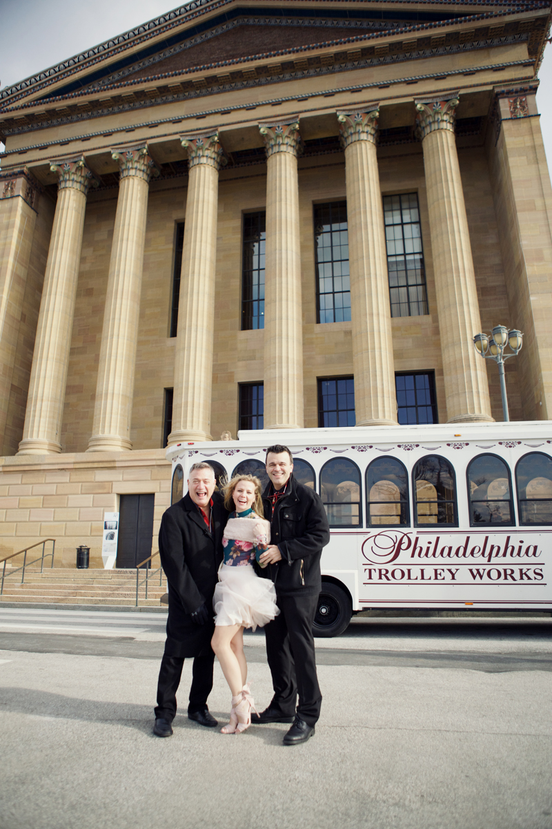 Eddie Bruce, Sarah DiCicco, and Dave Williams posing outside of the trolley!